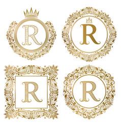 Golden letter r vintage monograms set heraldic vector