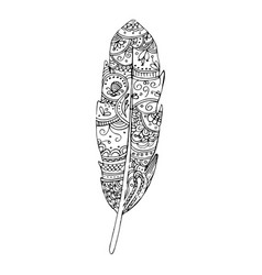 hand drawn feather zentangle style vector image