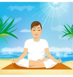 Handsome young man sitting in yoga pose vector