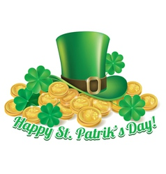 Hat and coins st patrick vector