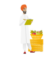 Hindu farmer writing on clipboard vector