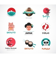 Japanese food and sushi icons menu design vector