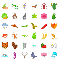 Leaf icons set cartoon style vector