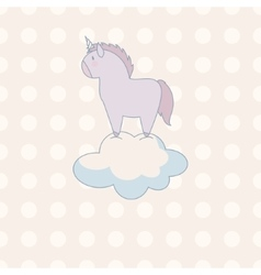 little cute unicorn in pastel colors on a vector image vector image