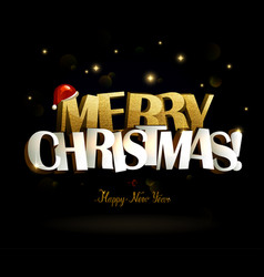 Merry christmas and happy new year inscription vector
