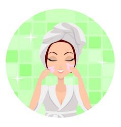 moisturisation girl applying nourishing cream vector image vector image
