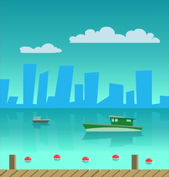 Port in the city vector image