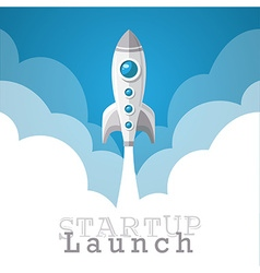 Rocket startup launch poster vector