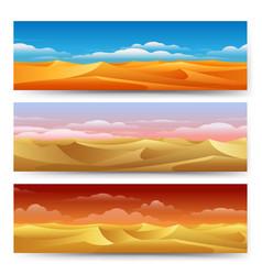 Sand dunes banners set vector