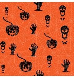 Seamless halloween background pumpkin skull and vector