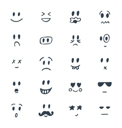 Set of hand drawn smiley faces Sketched facial vector image vector image