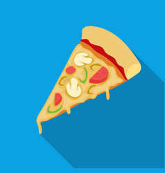 Slice of pizza icon in flat style isolated on vector
