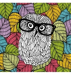 Smart owl in glasses on the colorful background vector