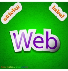 Web icon sign symbol chic colored sticky label on vector