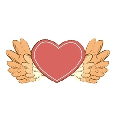 wing love heart icon vector image