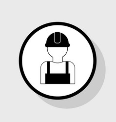 worker sign flat black icon in white vector image vector image