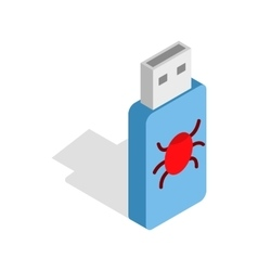 Infected usb flash drive icon isometric 3d style vector
