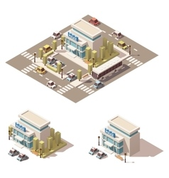 Isometric low poly police building icon vector