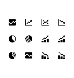 Line chart and Diagram icons on white background vector image