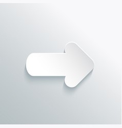 white paper cut arrow with shadow vector image