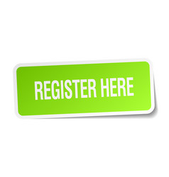Register here green square sticker on white vector