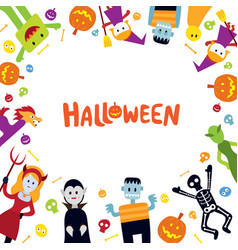 Halloween monster characters frame vector