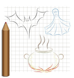 Pencil drawing on the theme of halloween vector