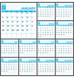 2015 Full Calendar Blue template vector image