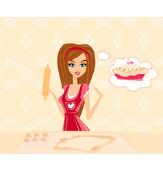 Housewife cooking cake in the kitchen vector