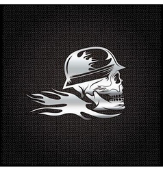 Silver skull in helmet with flame concept design vector