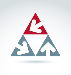 Abstract triangular icon with arrow abstract vector