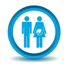 Young family icon blue 3d vector
