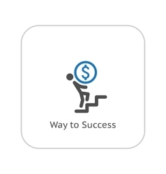 Way to success icon business concept flat design vector