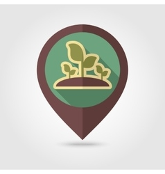 Plant sprout flat mapping pin icon vector