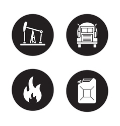 Fuel and gasoline production black icons set vector