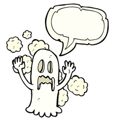 Cartoon spooky ghost with speech bubble vector