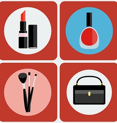 Make up tools colorful icon set vector