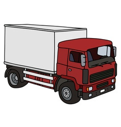 Red and white delivery truck vector
