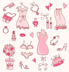 lady dreams graphic set vector image