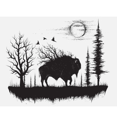 Abstract buffalo walking in the strange forest vector image vector image