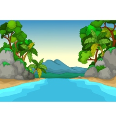 beautiful view of river cartoon with forest landsc vector image
