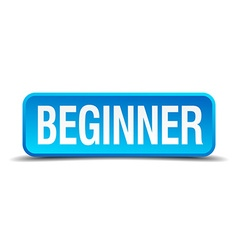 Beginner blue 3d realistic square isolated button vector