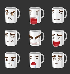 Cartoon Mug Emotion Face Cute vector image vector image