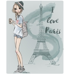 cute fashion girl vector image vector image