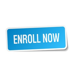 Enroll now blue square sticker isolated on white vector