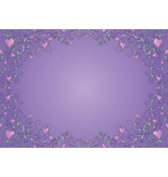 Floral frame with hearts vector image vector image