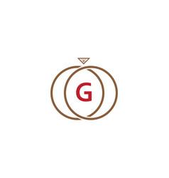 g letter ring diamond logo vector image