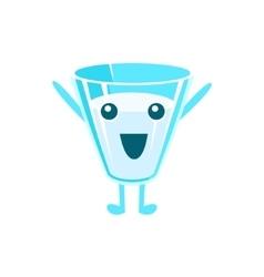 Happy Full Milk Glass Character vector image vector image