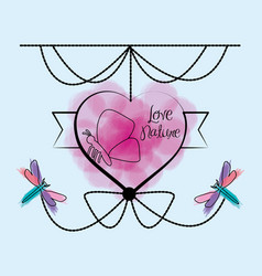 Heart emblem with ornamental design and dragonflys vector