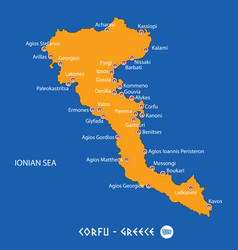 Island of corfu in greece orange map and blue vector